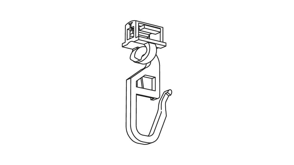 Clic Gelenkgleiter mit langem Haken 4 mm weiß Artikelbild