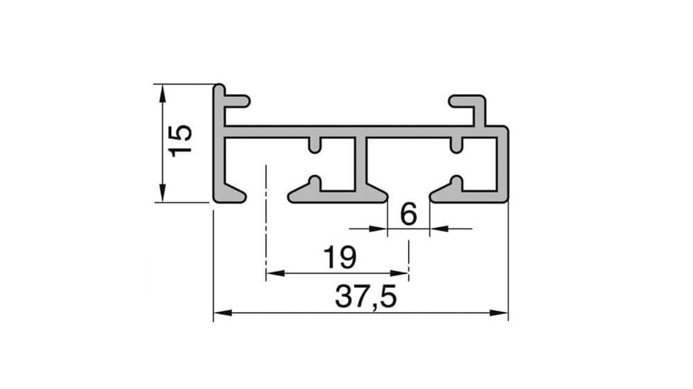 Flächenvorhangschiene mit Schnurzug - 2läufig - Modell 200 Artikelbild