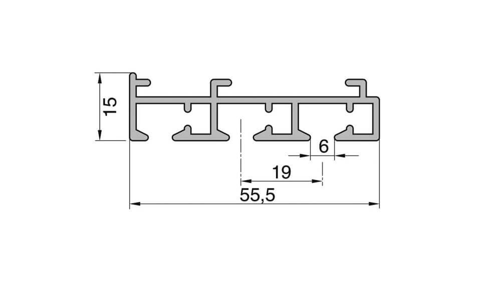 Flächenvorhangschiene mit Schleuderzug - 3läufig - Modell 210 Artikelbild