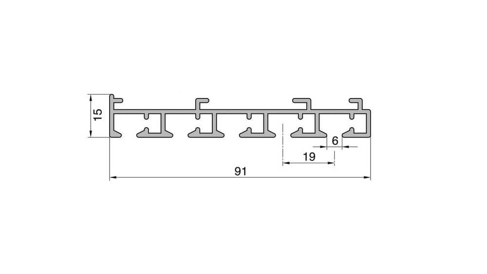 Flächenvorhangschiene mit Schnurzug - 5läufig - Modell 230 Artikelbild