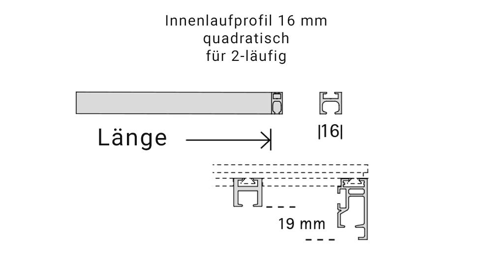 Dimension (2-läufig) edelstahl mit passenden Träger und Gleiter Artikelbild