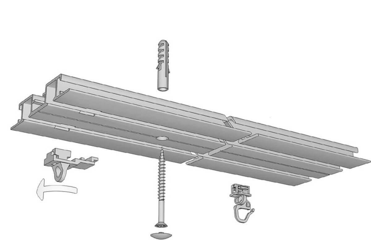 Einputzschiene 2 läufig für Gardinen & Vorhänge Modell 580 Artikelbild