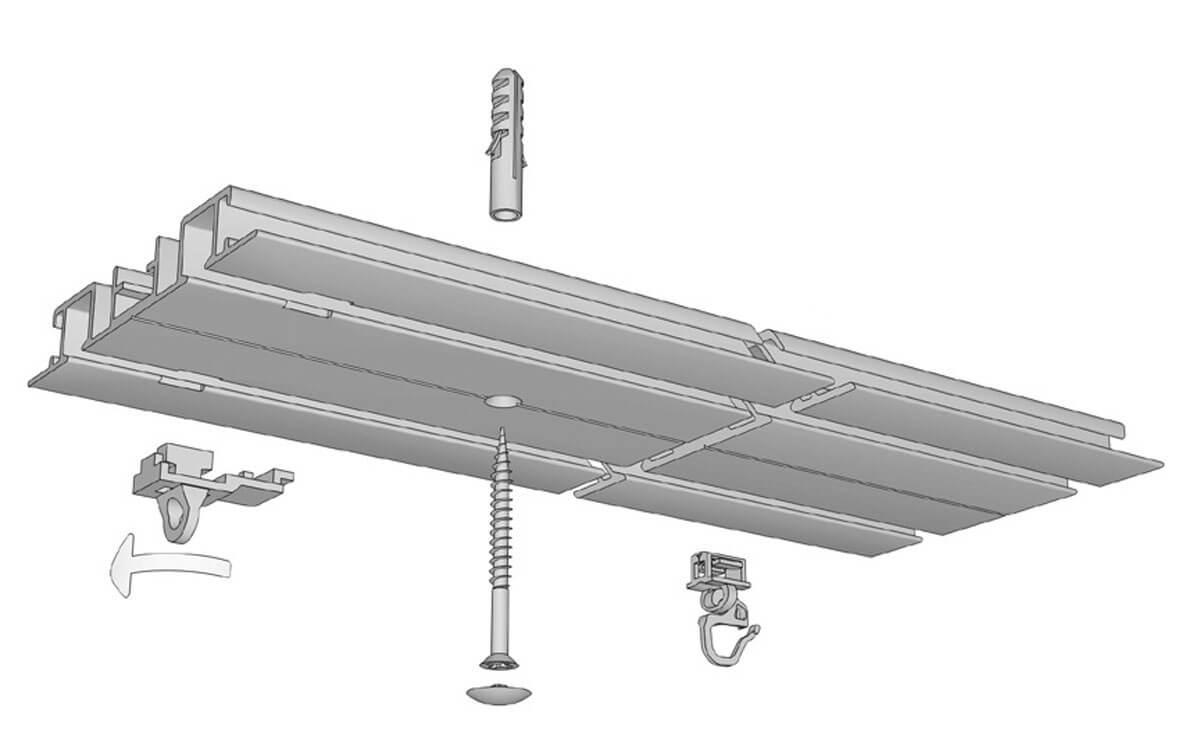 Vorhangschiene zum Einnuten / Unterputz Modell 583 Artikelbild