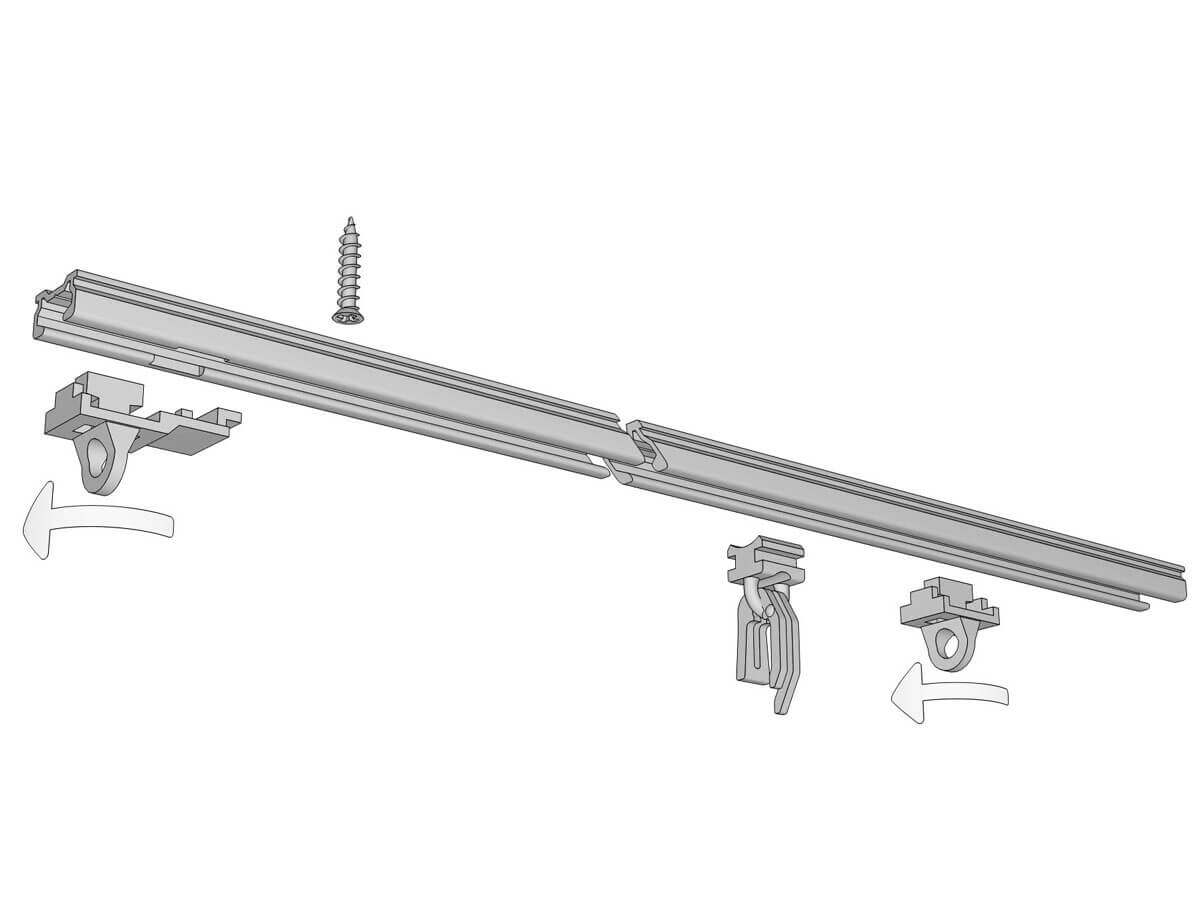 Flache Gardinenschiene zum Aufschrauben Modell 810 (Deckenschiene) Artikelbild