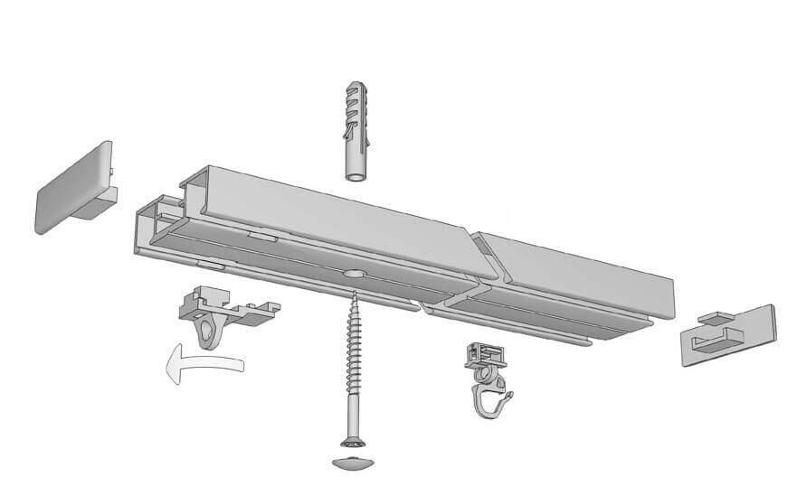 Flache einläufige Gardinenschiene ( Schleuderschiene ) - Modell 880 Artikelbild