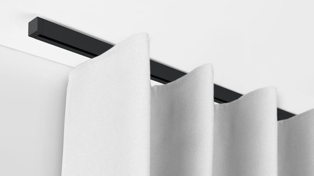 Deckenschiene mit Deckenträger für deckennahe Montage (1-läufig) mit passenden Trägern und Gleitern