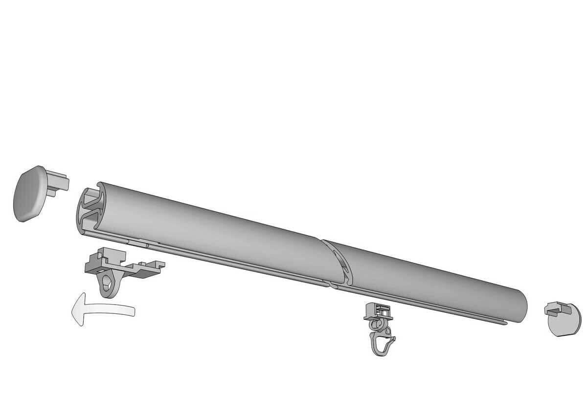 Rundrohrschleuderschiene 440, 2-läufig mit 180mm Universalträger Artikelbild
