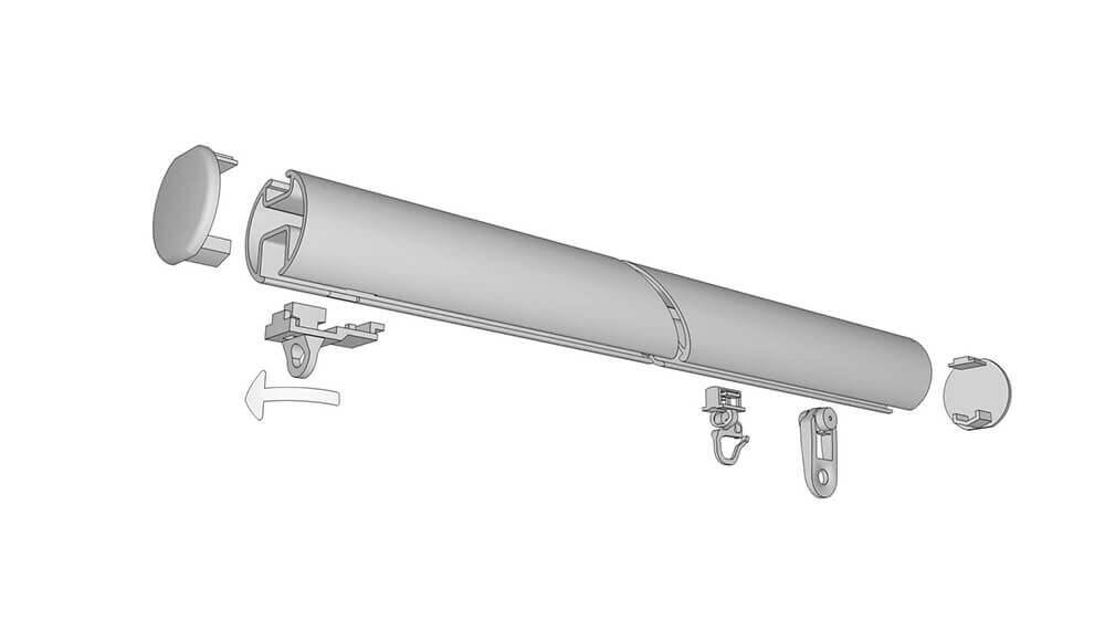 Rundrohrschleuderschiene 865, 2-läufig mit 180mm Universalträger Artikelbild