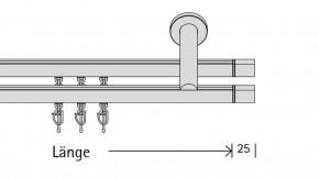Duett (2-läufig) messing matt mit passenden Trägern und Gleitern